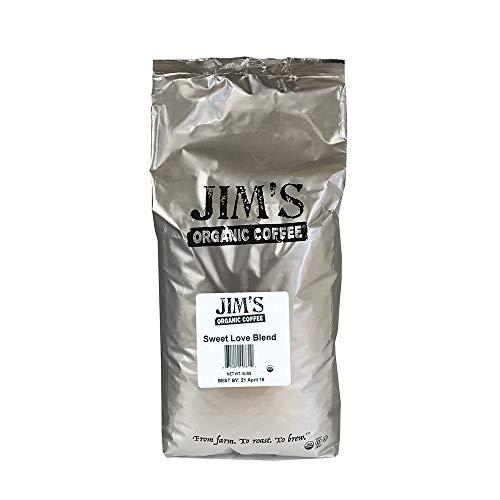 Jim's Organic Coffee Sweet Love Blend, Dark Roast, Whole Bean, 5 Pound