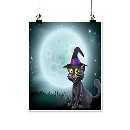 for Home Decoration of a Halloween Witch cat in a Pointy hat in Front of a Big Full Moon on a Misty Night for Home Decoration No Frame,24