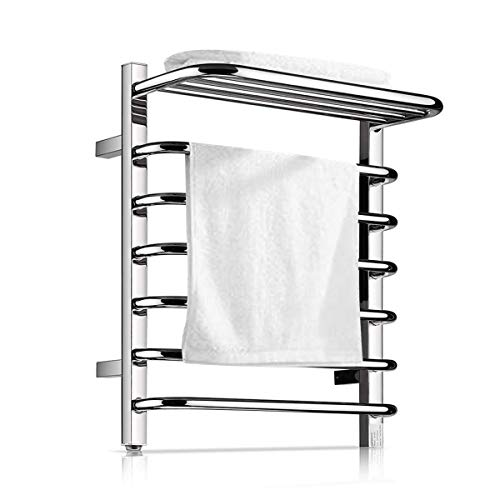 Homeleader Towel Warmer and Drying Rack, 9 Bars Plug-in Stainless Steel Heated Towel Rack, Built-in Thermostat, Wall-Mounted & Chrome