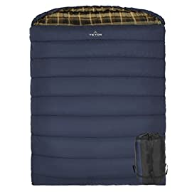 TETON Sports Mammoth Queen-Size Double Sleeping Bag; Warm and Comfortable for Family Camping 38 COMFORTABLE FAMILY SLEEPING BAG: Soft lining; Zipper and shoulder draft tubes keep the warm air in; Unzips on each side and the bottom for easy access; Innovative fiber fill for warmth NEVER ROLL YOUR SLEEPING BAG AGAIN: TETON provides a great compression sack for stuffing your sleeping bag; Start at the bottom and stuff the bag in, then tighten the heavy-duty straps SIZE DOES MATTER: Double sleeping bag is longer and wider than queen-sized mattress; 94x62 inches (239x157 cm)