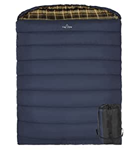 TETON Sports Mammoth +20F Double-Wide Sleeping Bag; Double Sleeping Bag Perfect for Base Camp while Camping, Backpacking, and Hiking; Blue