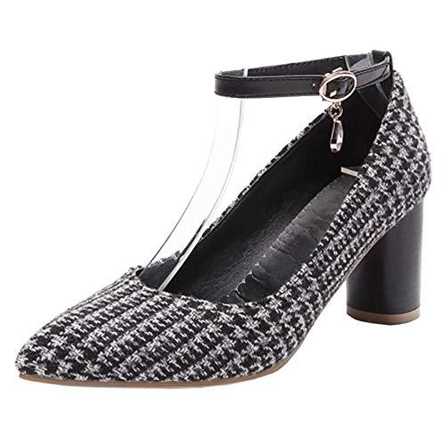 Caviglia Cinturino Donna Pumps Alto Moda RAZAMAZA Tacco Scarpe Nero wHq7S7z