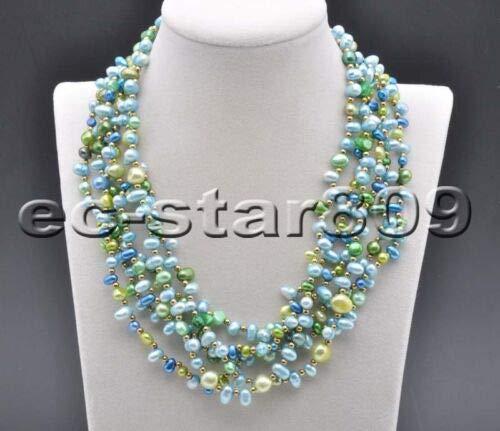 FidgetGear D0297 Set 6row Multicolor Rice Baroque FW Cultured Pearl Necklace & Bracelet Green Blue Necklace (Pearl Fw Baroque Necklace)