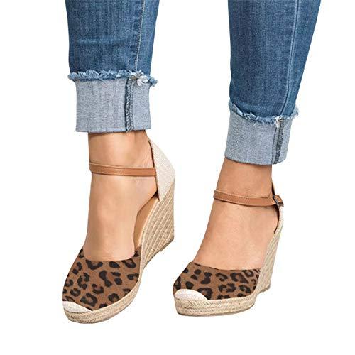 Kathemoi Womens Espadrille Wedge Sandals Ankle Strap Lace Up Slingback Platform Heeled Sandals