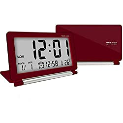 econoLED Travel Clock,Digital Clock, Multifunction Silent LCD Digital Large Screen Travel Desk Electronic Alarm Clock, Date/Time/Calendar/Temperature Display, Snooze, Folding Black & Silver US (Red)
