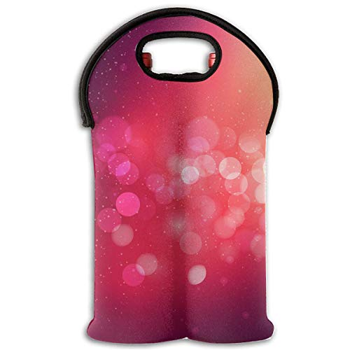 Dark Pink Lamplight 2 Bottle Wine Tote Carrier Bag Portable Insulated Polyester Beer Hand Bag for Travel,Picnic,Party