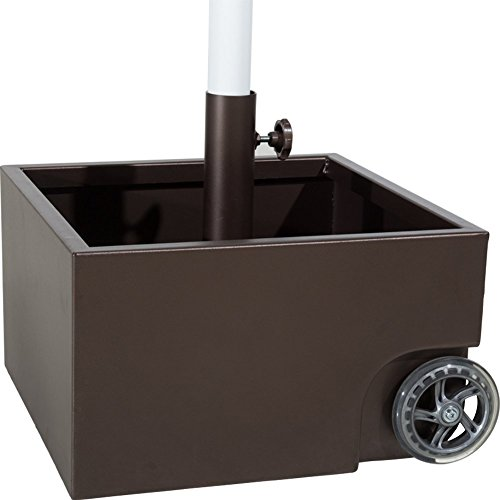Abba Patio Square Stainless Steel Sand Filled Umbrella Base/Planter With Two Wheels by Abba Patio