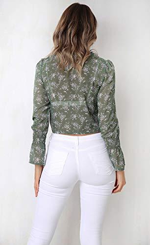 Hauts Flare Chemisiers Shirts Casual Bandage Sleeve JackenLOVE Vert Mode Printemps Automne Court Tee Femmes Imprime Tops Blouse avec wqR1vO