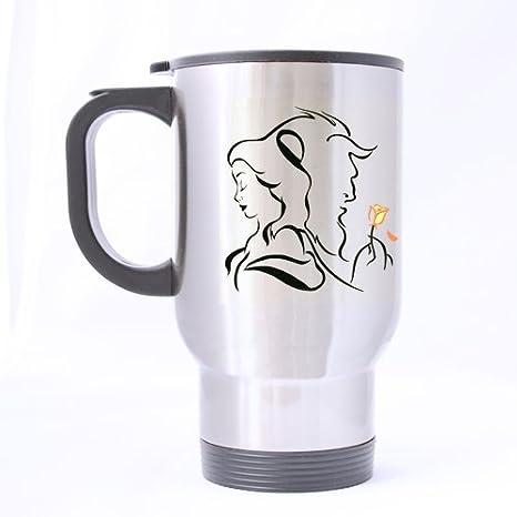 Custom Mugs Artist Beauty The Beast Custom Personalized Silver Travel Mug Sports Bottle Coffee Mugs Office Home Cup 14 Oz Two Sides Printed by Custom Mugs