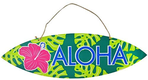 Scout & Company Aloha Surfboard Surf Board Sign for Tropical Hawaiian Luau Party Supplies | Tiki Bar Decorations with Palm and Pink Hibiscus | Plaque for Kitchen or Outdoor Patio Decor