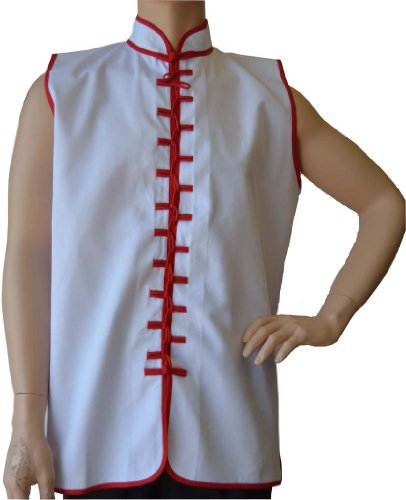 "Sleeveless Uniform Top in White w/Red-Adult Medium (top height:28.5"" chest:42"")"