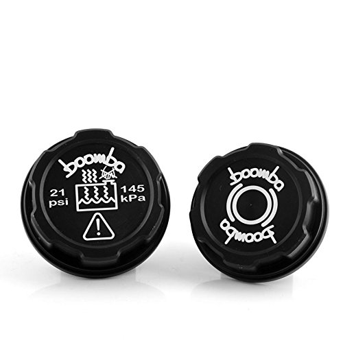 Boomba Racing Brake Fluid Coolant Tank Cap Covers BLACK for 14+ Ford Fiesta ST