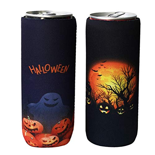 Halloween C Of E (2 Pack Neoprene Slim Beer Can Sleeves, Insulators Beer Can Cooler Covers Fit for 12oz Slim Energy Drink Beer Cans)
