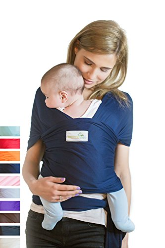 Beechtree Baby Classic Cotton Baby Wrap | Baby Carrier | 10 Colors | SOFTER and STURDIER Proprietary Fabric | Breastfeeding Sling Baby Holder | Great Baby Shower Gift - Navy Blue Blue Moby Wrap