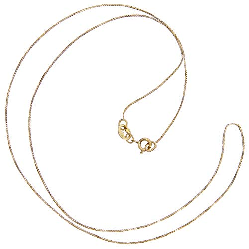 (14K Solid Yellow Gold Necklace | Box Link Chain | 16 Inch Length | .60mm Thick | With Gift Box)