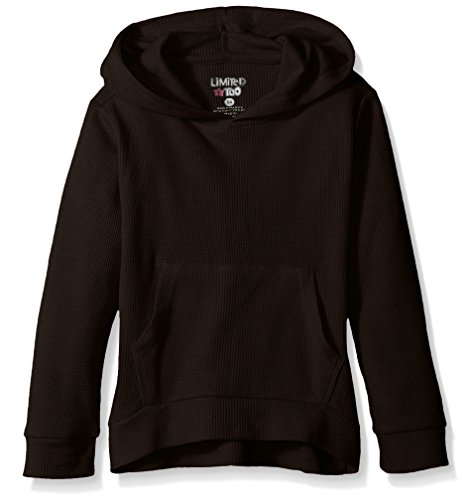 Limited Too Big Girls' Heathered Thermal Pullover Hoody, Black, 7/8