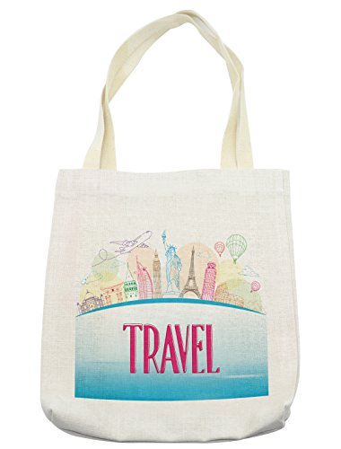Lunarable Travel Tote Bag, Famous Landmarks of the World Statue of Liberty Eiffel Tower Tourist Design, Cloth Linen Reusable Bag for Shopping Groceries Books Beach Travel & More, (Tourist Costume Makeup)