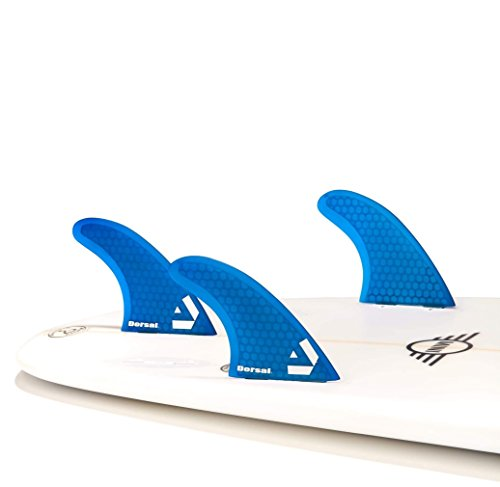 Dorsal Surfboard Fins Hexcore Thruster Set (3) Honeycomb FCS Base Blue by Dorsal