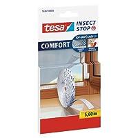 tesa Insect Stop COMFORT Fliegengitter für Fenster/Insektenschutz Klettband-Ersatzrolle in Weiß / 5,6 m