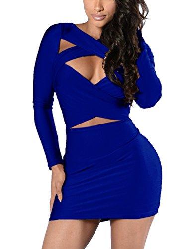 Women's Long Sleeve Cut Out Bandage Bodycon Party Clubwear Mini Dress S Blue