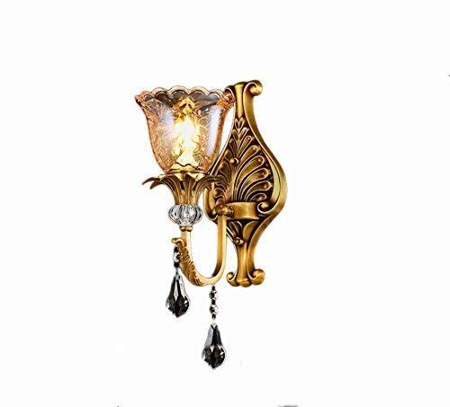 WHKHY European of All Retro Wall Lamp Wall Light Bronze Wall Lamp Bedchamber Lounge Context Crystal Night Table Lamp Green Copper 1-2 Head E 14, 371837cm