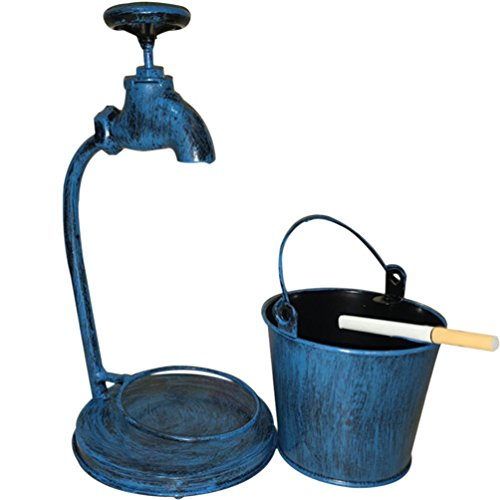 ZZ Lighting Retro Metal Cigar Ashtray Bucket For Home Bar Outdoor Decorative Pen Holder Storage Creative Gift, Blue Faucet by ZZ Lighting