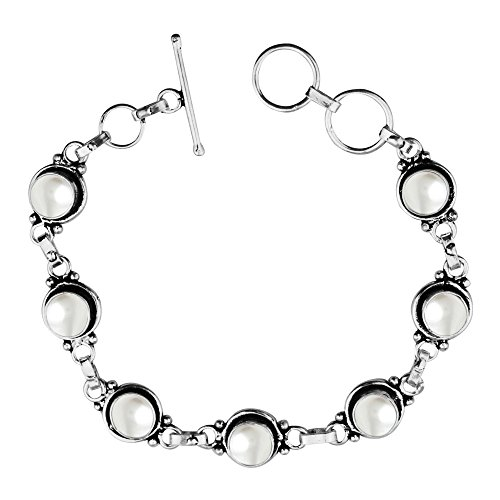 Artisan Sterling Silver Bracelet (12.50Gms,4.50 Ctw Genuine Pearl 925 Sterling Silver Overlay Handmade Fashion Bracelet Jewelry)