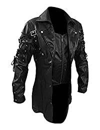 CLYDESTONES Mens Black Matrix Trench PU Leather Coat Steampunk Gothic