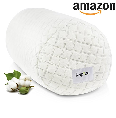 NapYou OFFICIAL Amazon Exclusive Shredded Certipur Memory Foam Neck & Cervical Bolster Pillow with Unique and Luxury Pillow Design for Ultimate Breathability and Density made with Organic Cotton - Exclusive Foam