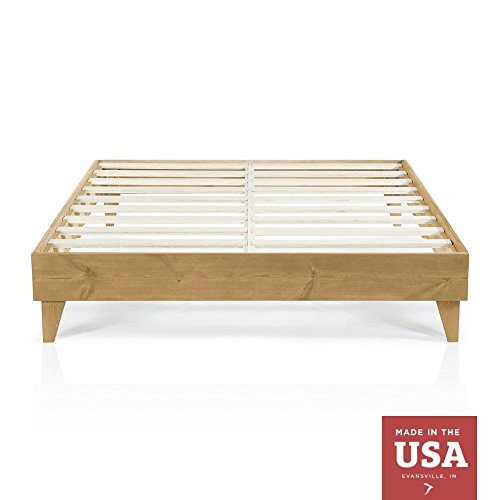 Cardinal & Crest Wood Platform Bed Frame | Modern Wooden Design | Solid Wood | Made in U.S.A. | Easy Assembly | Almond, California King ()