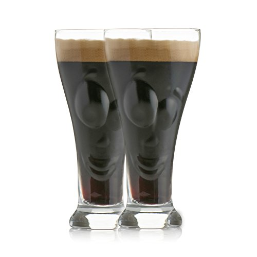 Chill-O-Beer-Face-Glass-Set-of-2-450ml-Quirky-Design-Beer-Glasses-Fun-Gift-Item-The-Face-Of-Your-Beer