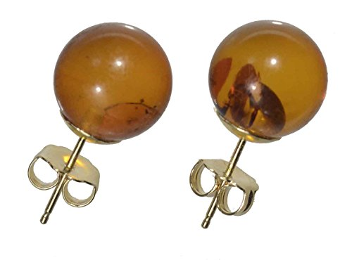 14k Yellow Gold Baltic Amber Round Stud Earrings - Gold Amber
