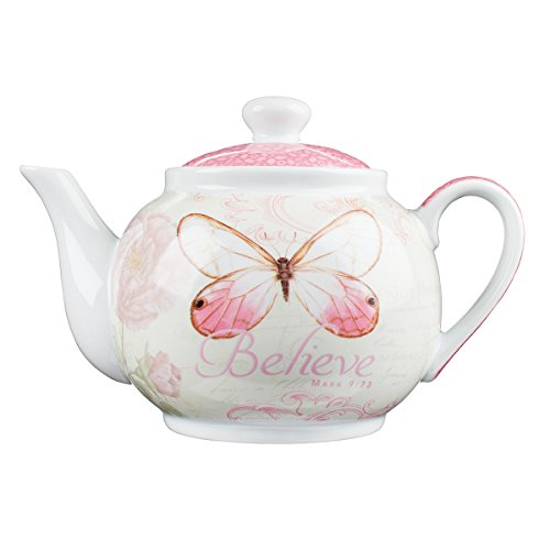"Botanic Butterfly Blessings ""Believe"" Tea Pot - Mark 9:23"