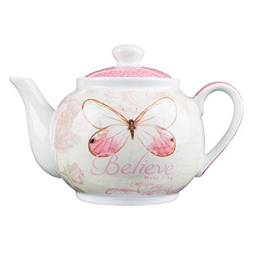"Botanic Butterfly Blessings ""Believe"" Tea Pot - Mark 9:23"