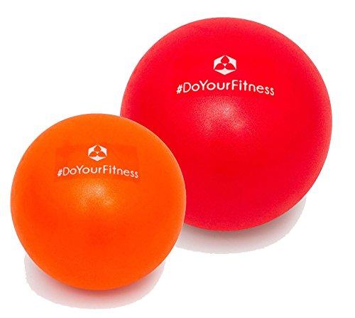 [2Stück] Mini Pilates Ball »Bola« Gymnastikball: Effektives Training gegen Verspannungen und Muskelschmerzen, in verschiedenen Größen (18cm & 23cm) / Farbe rot-orange