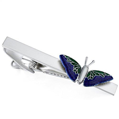 HAWSON Blue Butterfly Tie Clip for Men - Shirt Accessories Gentlemen Gift