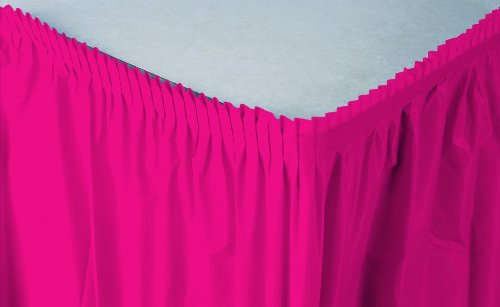 Creative Converting Plastic Table Skirt, 14-Feet, Hot Magenta ()