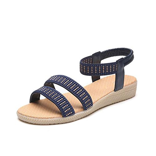Kingwhisht Women Sandals 15 Colors Flats Fashion Casual Beach Girls Summer Sandals Bohemian Women Summer Shoes (Brookhaven Leather)