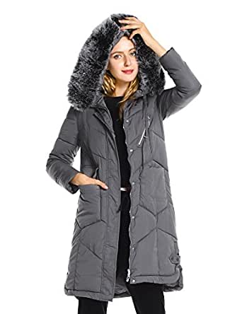 ZAN.STYLE Women's Long Warm Winter Coat, Windproof Faux