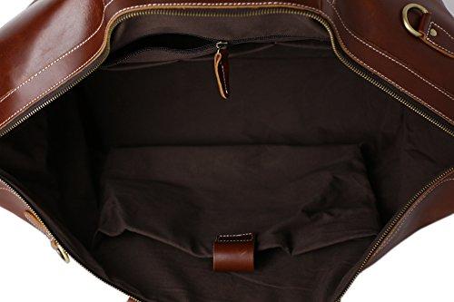 ROCKCOW Reddish Brown Top Grain Leather Travel Duffle Bag Men Shoulder Bag Holdall Bag by ROCKCOW (Image #6)