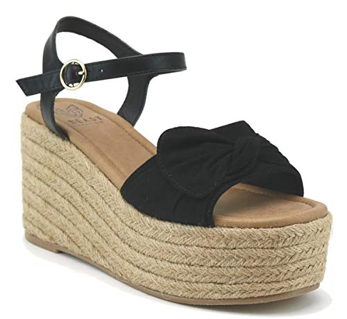 - Beast Fashion Nell-01 Suede Bow Open Toe Espadrille Platform Wedge Sandal (10, Black)