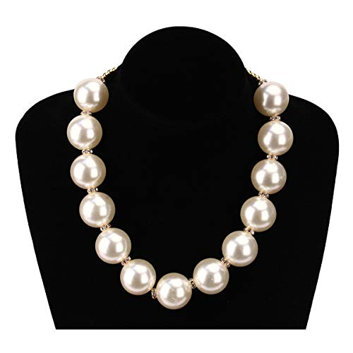 MeliMe Women's White Simulated Pearl ( 25mm ) Strand Necklace, 17'' + 3.2'' (White pearl)