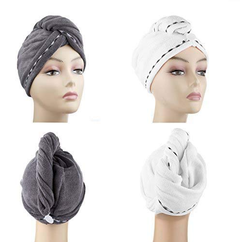 Microfiber Hair Drying Towels, Fast Drying Hair Cap, Long Hair Wrap,Absorbent Twist Turban, White, Dark Gray (2 pack) ¡ (Thing One And Thing Two Face Makeup)