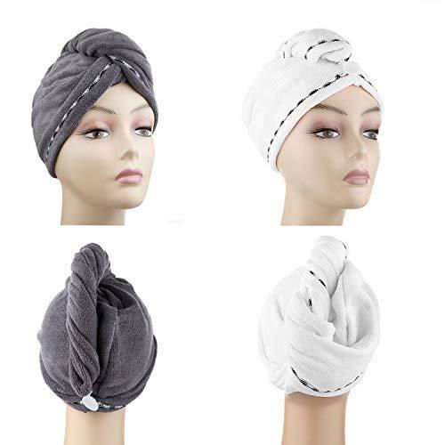 Microfiber Hair Drying Towels, Fast Drying Hair Cap, Long Hair Wrap,Absorbent Twist Turban, White, Dark Gray (2 pack) ¡