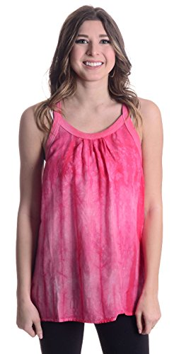 C&c California Tie Dye - C&C California Women's Haze Tie Dye Racer Back Tank,Fuschia Pink,Medium