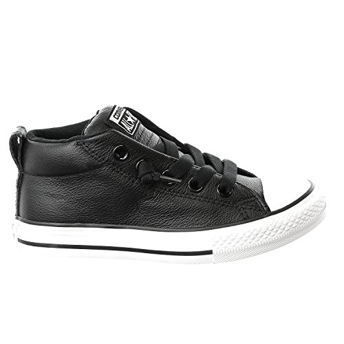 Converse Boys Kid's Chuck Taylor All Star Street Mid Top Leather Fashion Sneaker Shoe, Black, 13.5 - Converse All Star Multi Eyelet