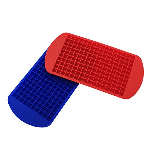 BakeWarePlus 160 Mini Ice Cube Silicone Tray Molds Small Square Mould Blue and Red Set of 2