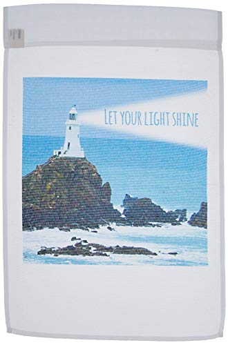 3dRose fl_155657_1 Let Your Light Shine-Lighthouse Shining Bright-Light House at Sea Ocean-Inspiring Words Saying Garden Flag, 12 by 18-Inch