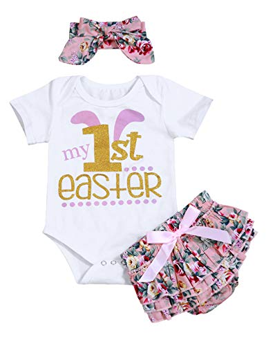 My 1st Easter Outfit Baby Girl Clothes Bunny Letters Romper Ruffle Floral Shorts with Headband Bodysuit Set -