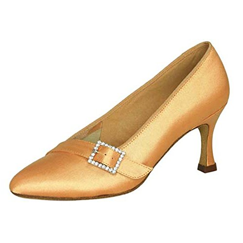 YFF Gift Women dance Shoes Ballroom latin Dance tango dancing shoes 6CM,Apricot color,37